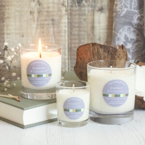 The Candle Bothy Bamboo & Coconut candles in 3 different sizes