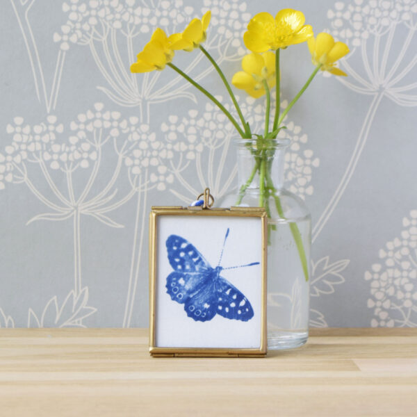 The Way to Blue Blue Butterfly Cyanotype in gold edged glass hanging frame