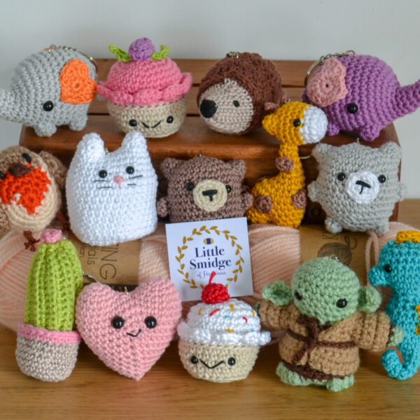 Little Smidge of Happiness, a collection of crochet keyrings and decorations