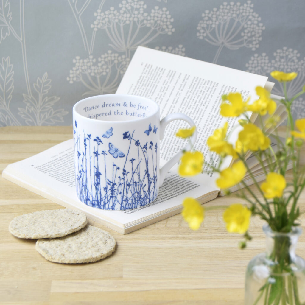 The Way to Blue Butterfly Meadow Fine Bone China Mug