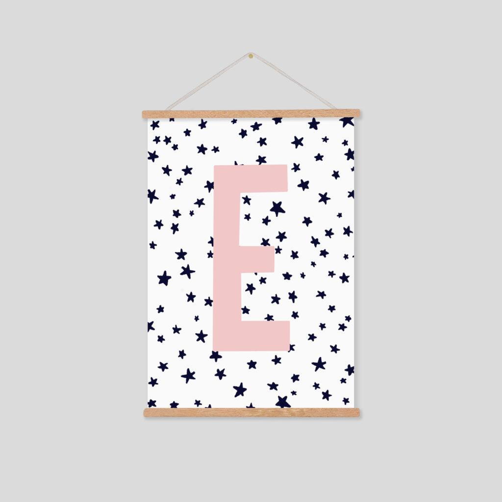 Bamber Prints Personalised Initial Stars Print, Nursery Decor Pedddle
