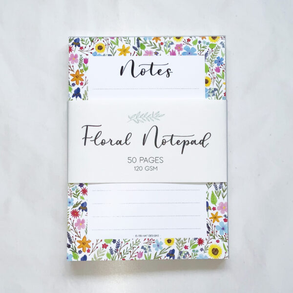 Floral notepad, A6 notepad, gift for a friend