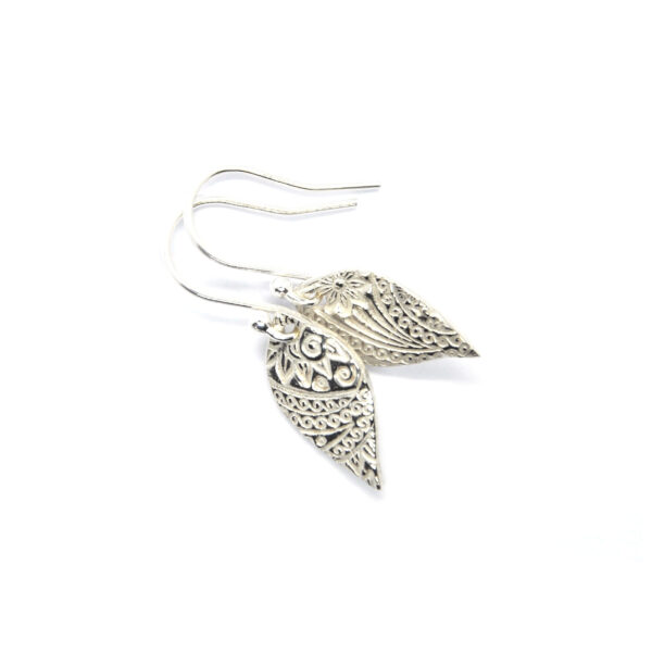 Leaf shape drop earrings with paisley pattern made in recycled silver Mijoux Creations