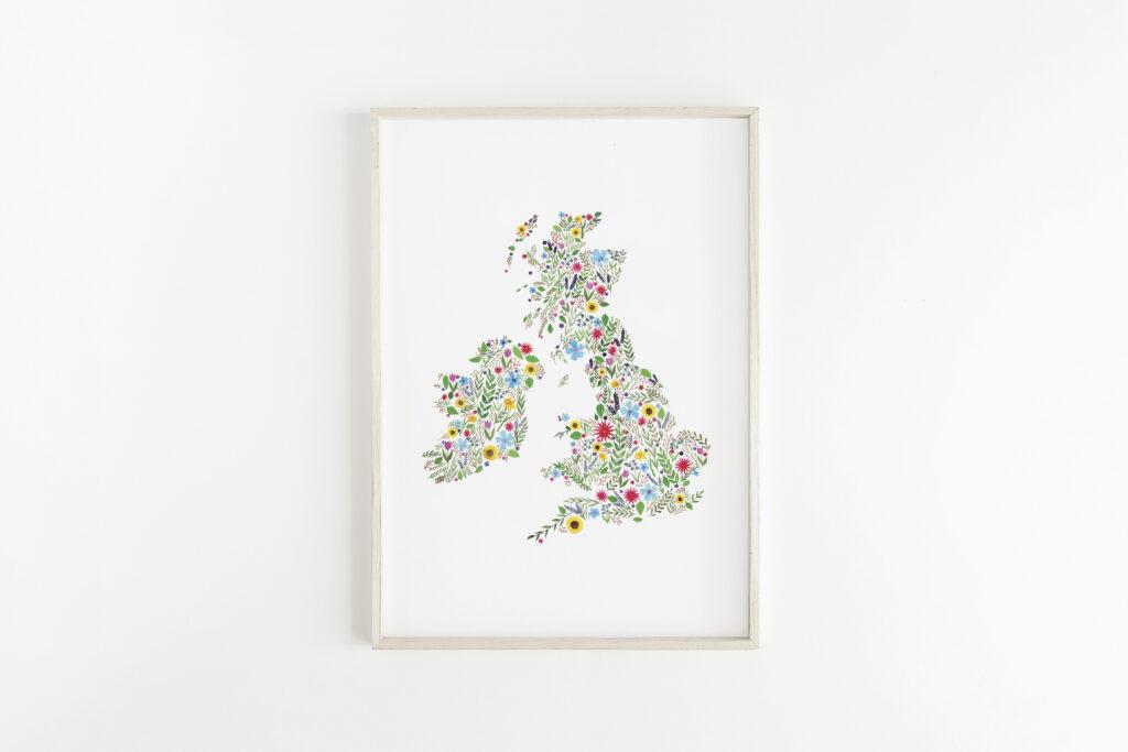 Floral Map of The British Isles - Eleri Haf Designs
