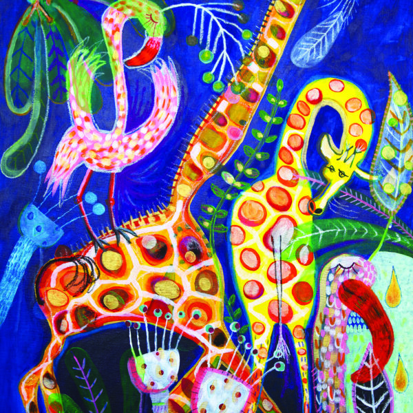 Jo Rose Studio, Giraffe and Flamingos, Large mixed-media original painting,