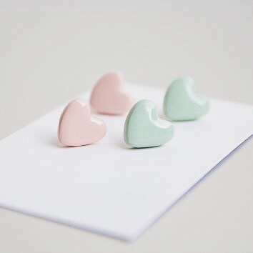 Polymer Clay Pastel Mint Green and Pastel Pink Heart Studs