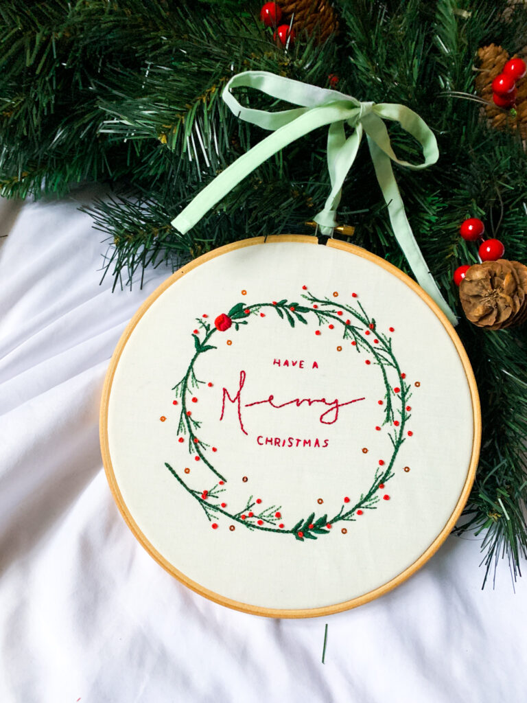 Wild Strings by Eleanor, 'have a Merry Christmas' embroidery hoop