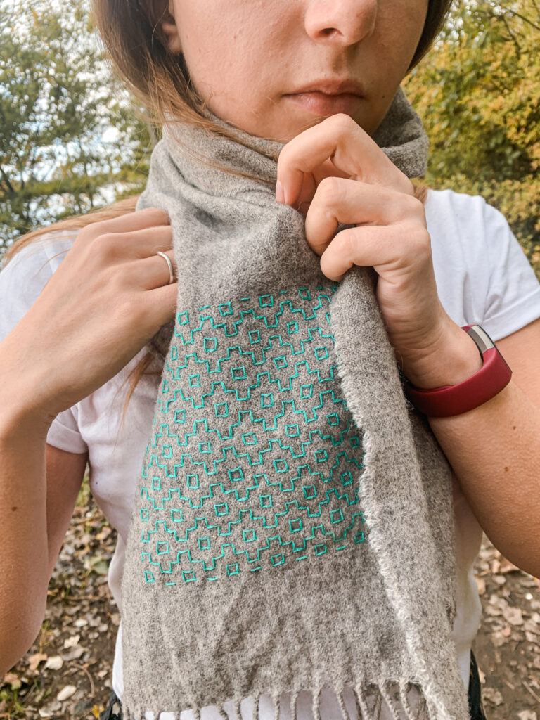 Wild Strings by Eleanor, grey wool scarf with mint green hand embroidery