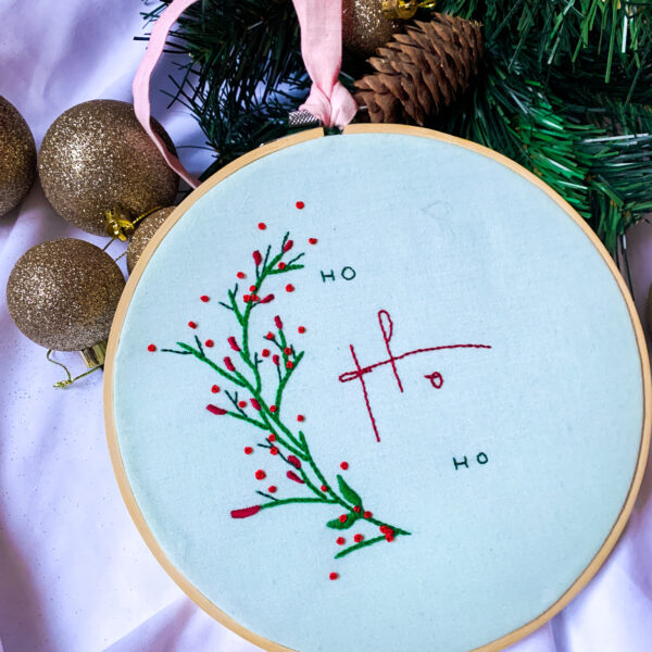 Wild Strings by Eleanor, 'ho ho ho' slogan embroidery hoop