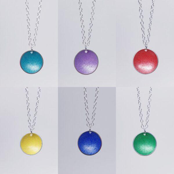 Cold enamelled silver necklaces made by AP Metalsmith