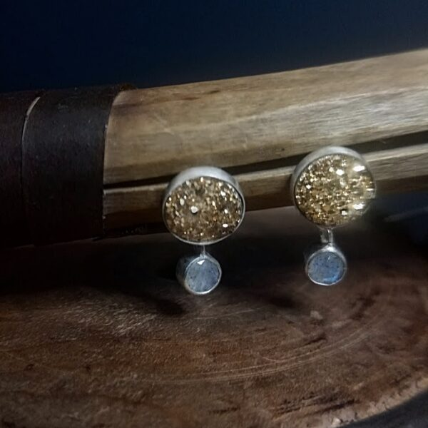 Emma Taylor Jewellery - Laboradite and Gold Druzy Gemstone Earrings