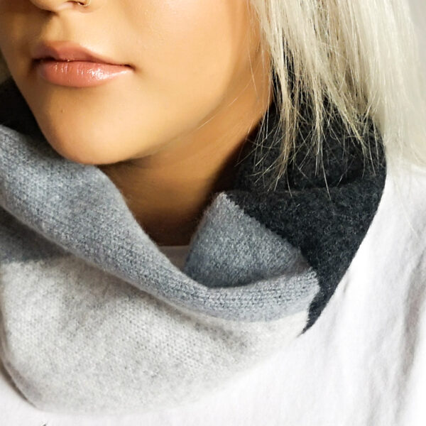 Lyndsey Currie - Knitted Accessories, Light grey, dark grey and charcoal snood. Single wrap circle scarf, 100% high quality lambswool, photographed on female model.