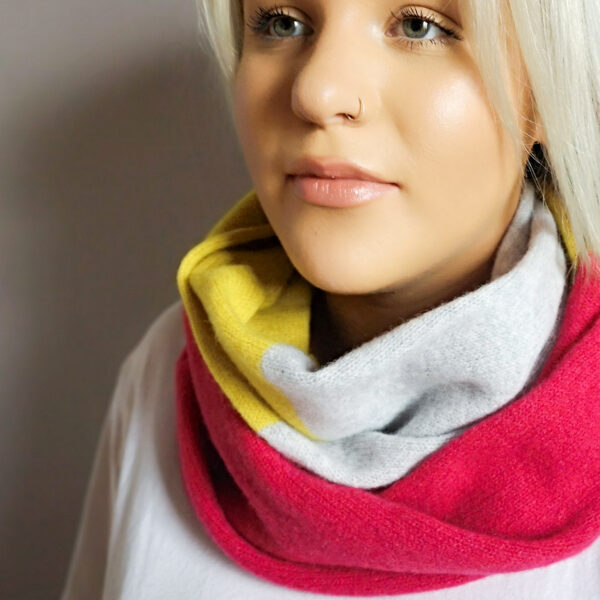 Lyndsey Currie - Knitted Accessories, Three block colour snood, Hot pink, light grey and piccalilli circle scarf , 100% high quality lambswool