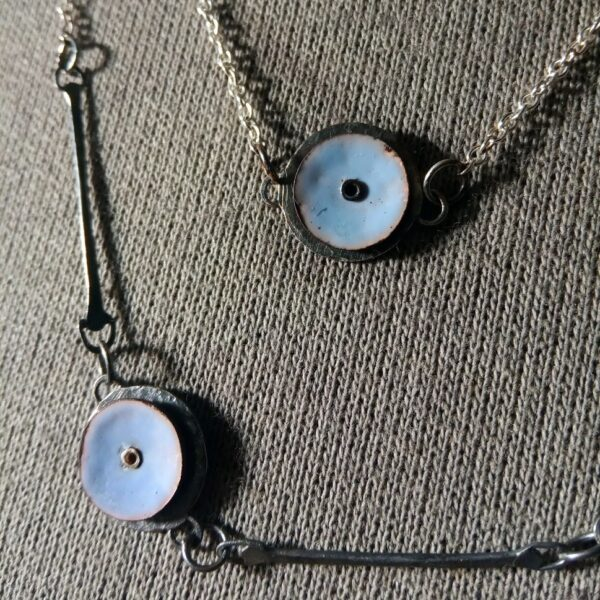 Emma Taylor Jewellery - Close Up - Silver and Copper Torch Fired Enamel Necklaces