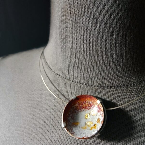 Emma Taylor Jewellery - Silver and Copper Raku Fired Enamel Necklaces