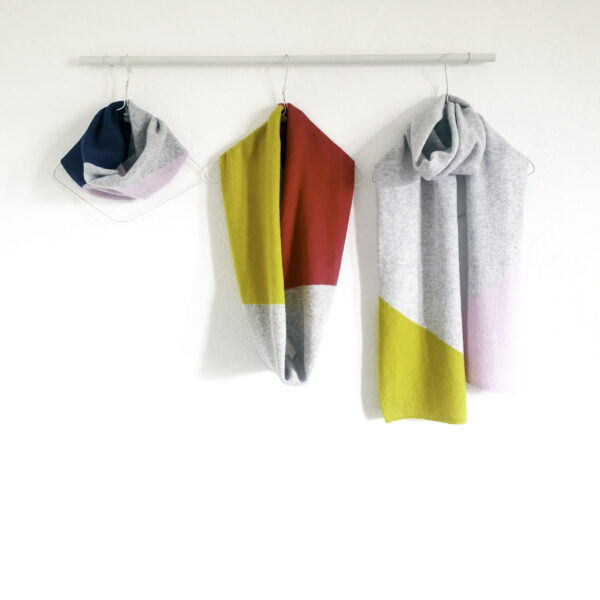 Lyndsey Currie - Knitted Accessories, Three colour blocked snood. Light grey, hot pink and piccalilli snood, Light grey, pink, and petrol snood, Light grey, piccalilli and pink scarf. 100% high quality lambswool