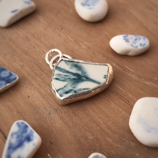 the pine in the valley recycled silver sea pottery pendant