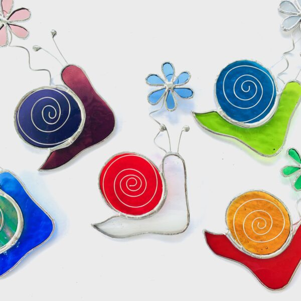 Caroles Glass stained glass snail suncatcher