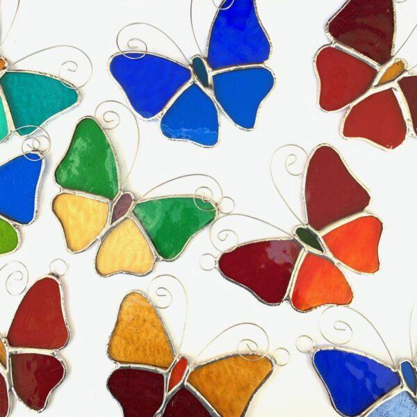 Caroles Glass stained glass butterfly suncatcher