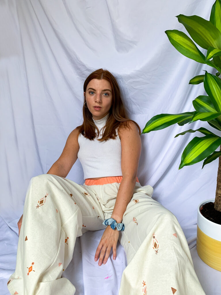 Wild Strings by Eleanor, cream and coral wide legged palazzo trousers