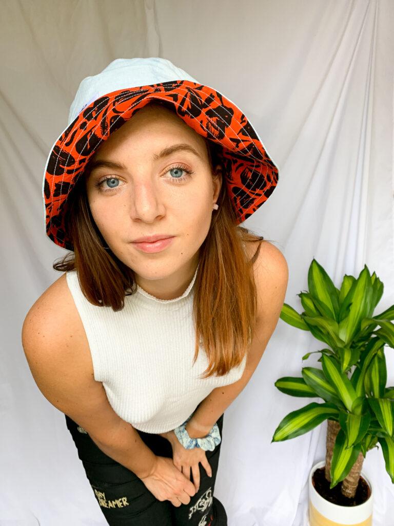 Wild Strings by Eleanor, reversible bucket hat, denim and print