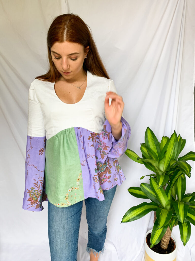Wild Strings by Eleanor, green, purple and white floaty top