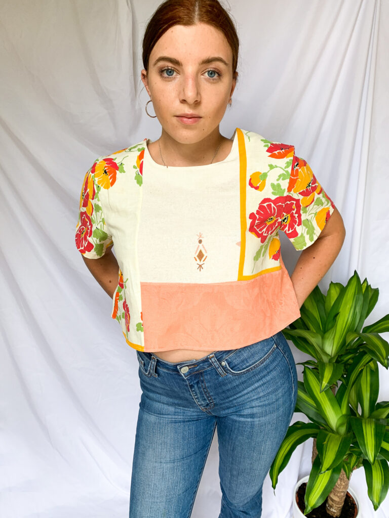 Wild Strings by Eleanor, orange, coral, cream panelled T-Shirt