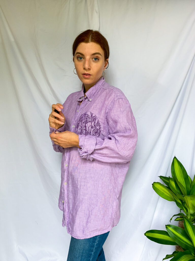 Wild Strings by Eleanor, embroidered purple oversized shirt