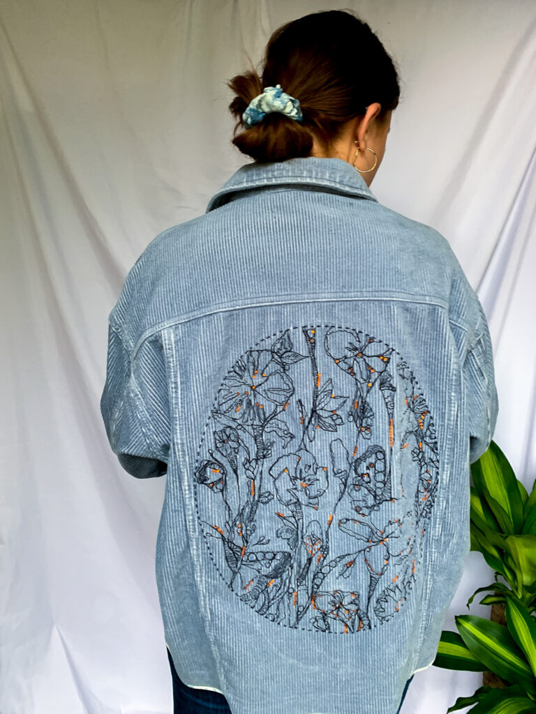 Wild Strings by Eleanor, embroidered light blue corded jacket
