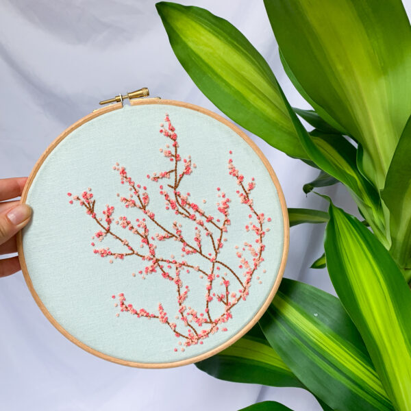 Wild Strings by Eleanor, cherry blossom embroidery hoop
