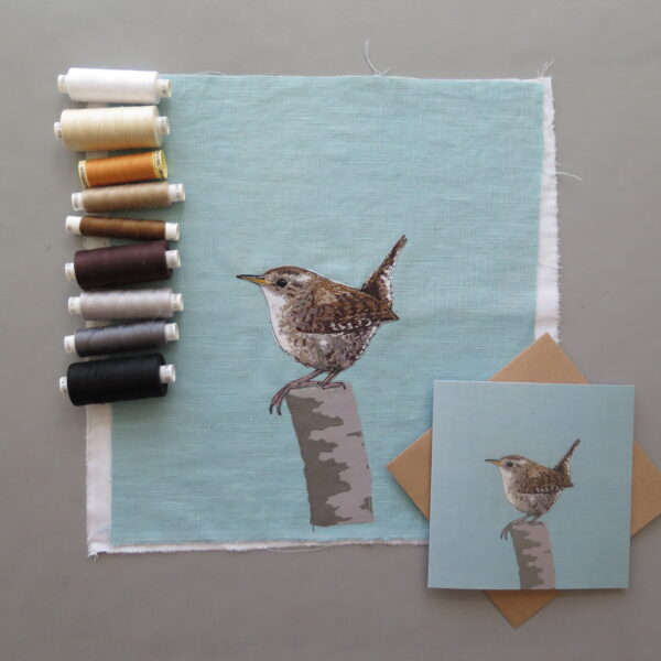 Lellibelle, wren greetings card, fabric, applique, machine embroidered, printed, British wildlife