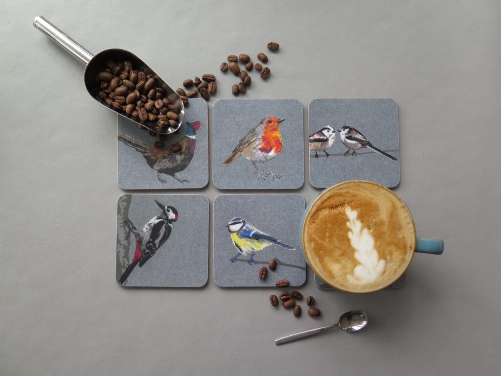 Lellibelle, melamine British bird coasters, selection of designs, melamine, cork backed
