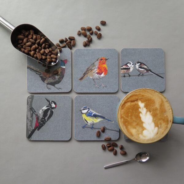 Lellibelle, melamine British bird coasters, selection of designs, melamine, cork backed