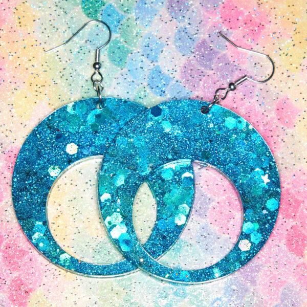 Glitter and Delight, Blue Glitter Dangle Earrings