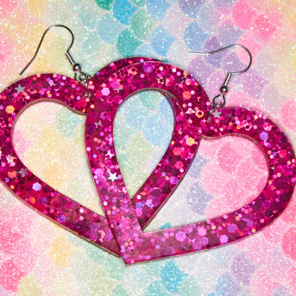 Glitter and Delight, Large Pink Heart Earrings