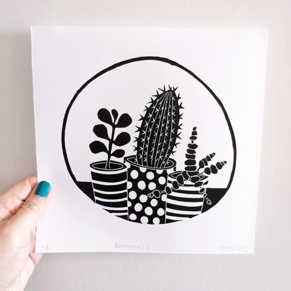 Kerry Day Botanical Cactus and Succulent Black and White Lino Print Still Life