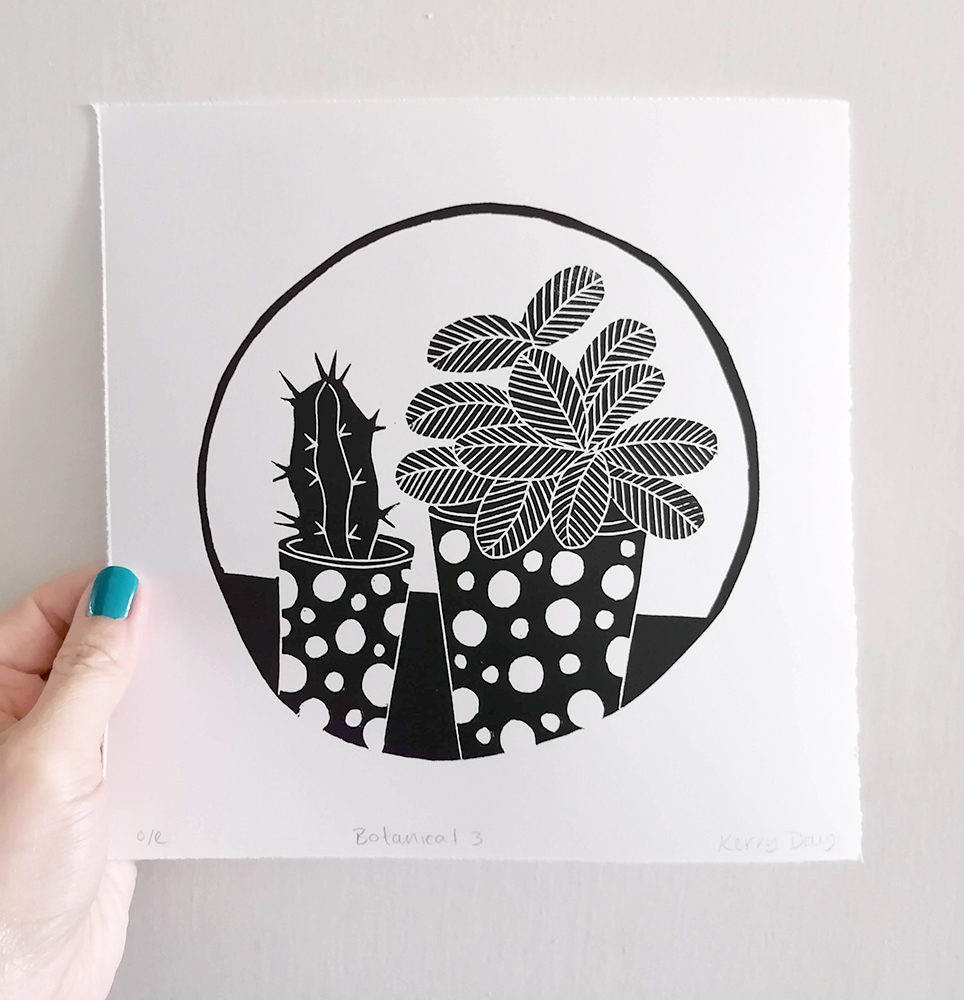 Kerry Day Botanical Cactus and Leafy Plant Black and White Lino Print