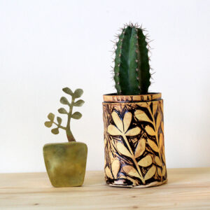 Kerry Day, Brass Money Tree Sculpture and Succulent Ceramic Plant Pot containing a Cactus