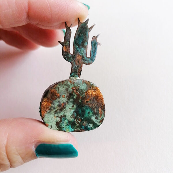 Kerry Day Copper Cactus Sculpture with a Green Patina Applied to Surface