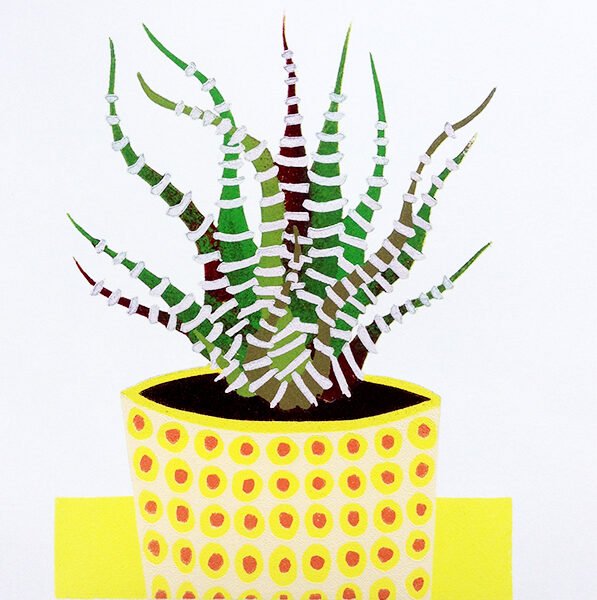 Kerry Day Haworthia Fasciata Multi Layered Colourful Limited Edition Lino Print in Yellow, Greens and Deep Red colours