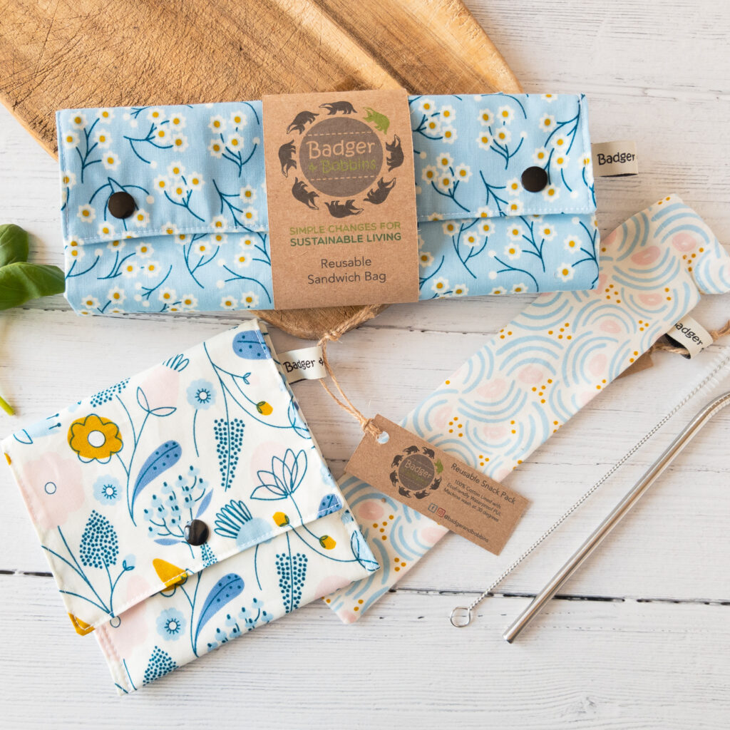 Badger and Bobbins Zero Waste Bundle: Reusable Sandwich Bag, Snack Pack and Metal Straw