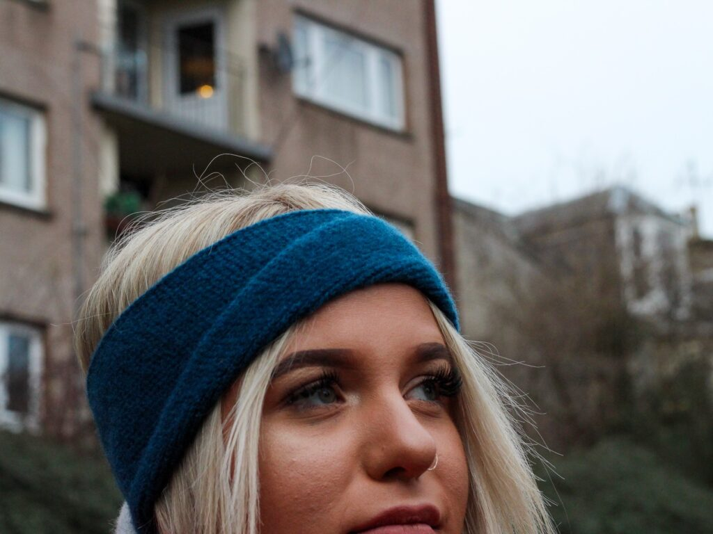 Lyndsey Currie - Knitted Accessories, Petrol blue knitted lambswool headband, 100% high quality lambswool.