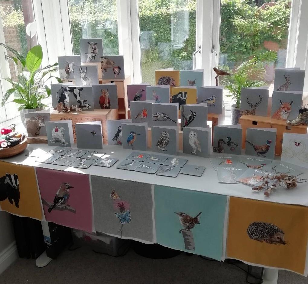 Lellibelle market stall, greetings cards, coasters, British wildlife