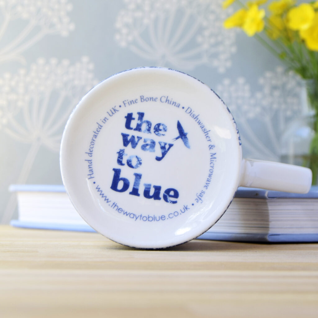 The Way to Blue Fine Bone China Mug Microwave and Dishwasher safe back stamp