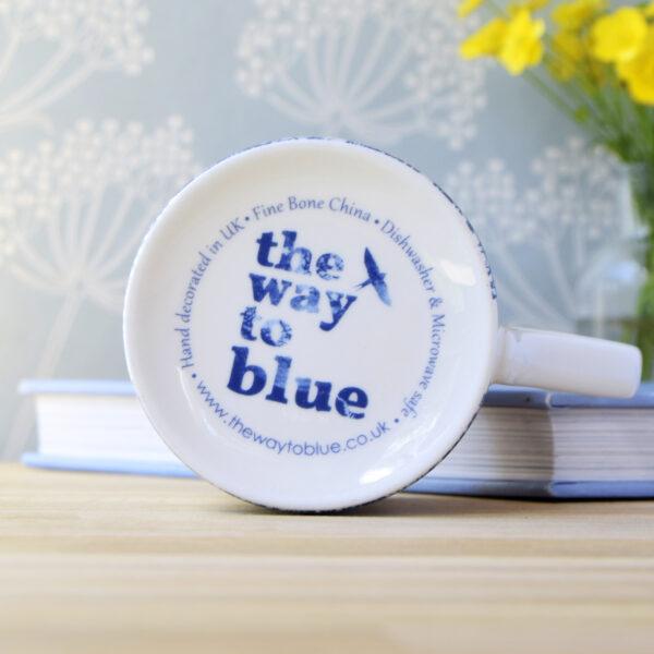 The Way to Blue Fine Bone China Mug Microwave and Dishwasher safe back stamp