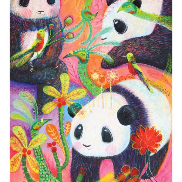 Panda and Peacock, Fine Art Giclée Print