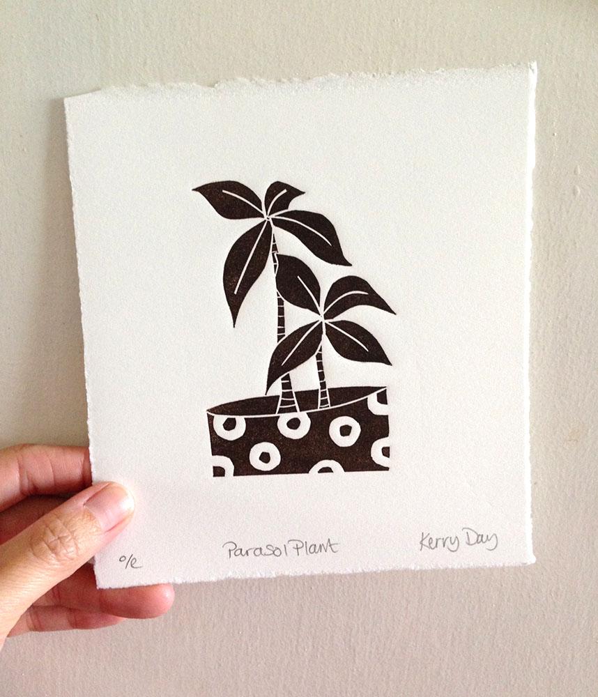 Kerry Day, Parasol Plant, Black and White Lino Print