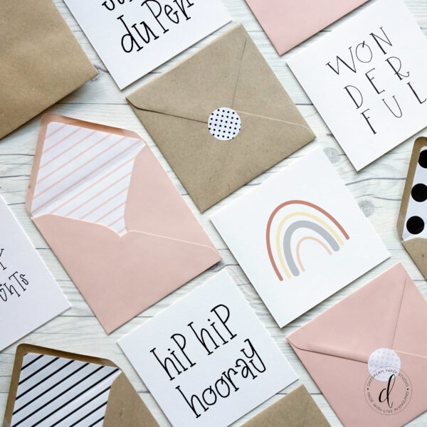 Daydream Paper Studio, Hand lettered square greeting cards