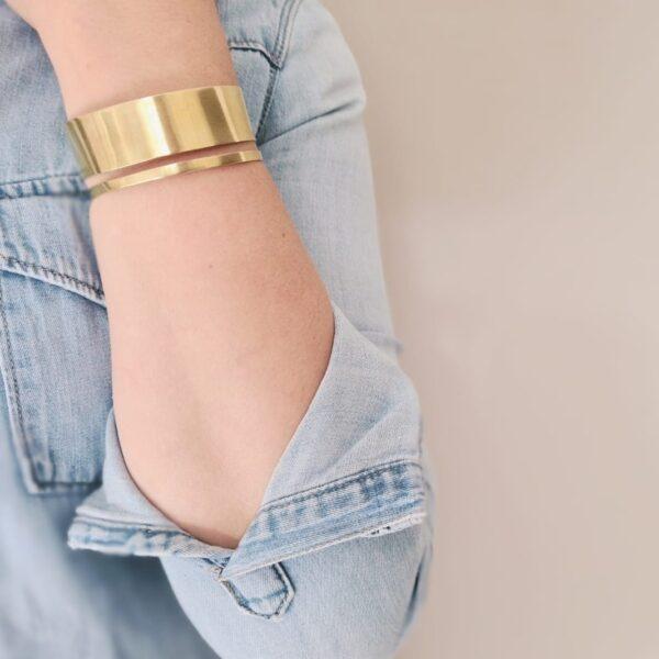 KiJo Jewellery, Gold cuff bracelet, statement cut out gold cuff bracelet worn with denim shirt