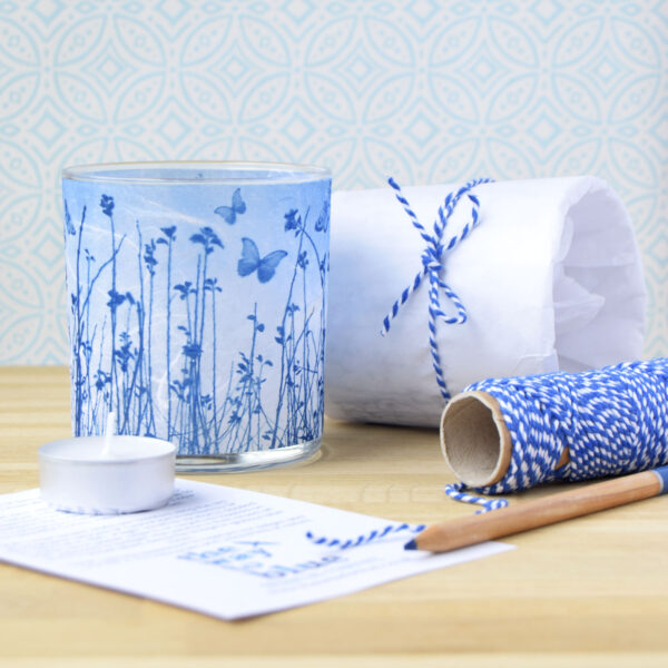 The Way to Blue Blue Butterfly Meadow Tea light holder and packaging